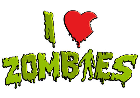 i label: I love zombies label or sticker, in english language