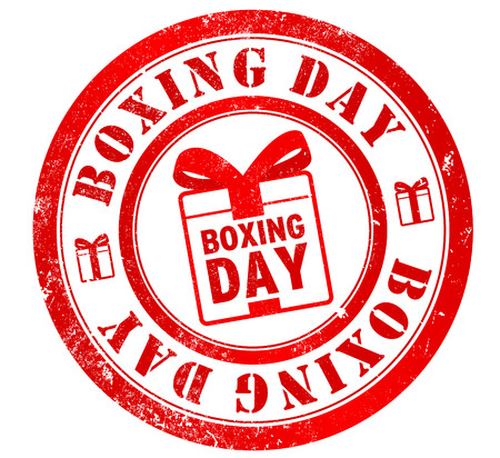 boxing day grunge stamp, in english language (celebrated 26 december) photo
