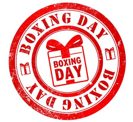 boxing day: boxing day grunge stamp, in english language (celebrated 26 december)