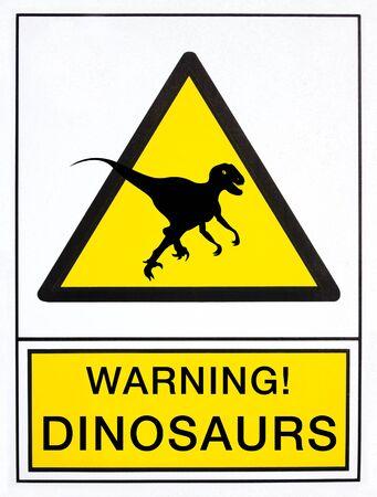 english language: warning dinosaurs signal, in english language Stock Photo