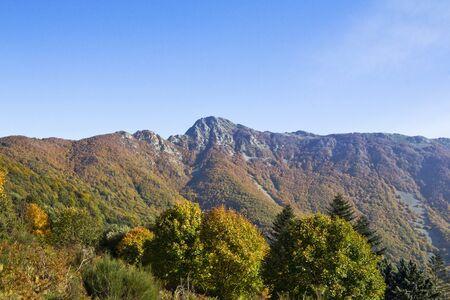 caes: Parque Natural del Montseny, en el oto�o con todos los colores de los �rboles en Catalu�a (Espa�a). En el fondo se puede ver la monta�a de Les Agudes.