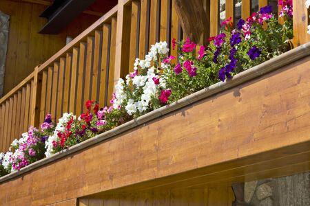 balcony full of flowers in Cerdanya, Catalonia (spain)