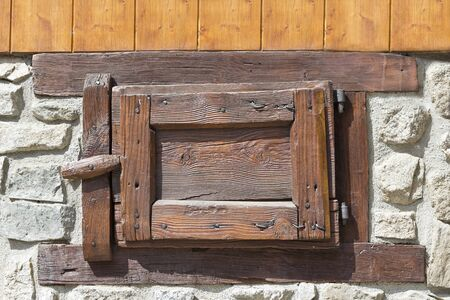 typical: old wooden windows, typical of the stables Stock Photo