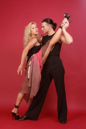 Gorgeous couple dancing argentine tango Stock Photo