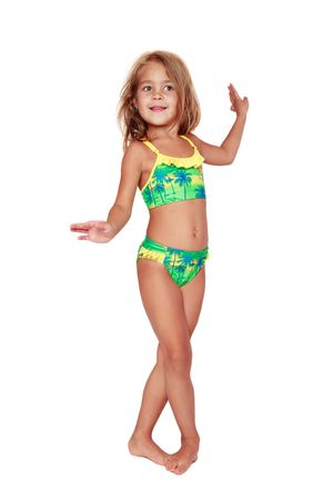 frizz: Pretty tanned little girl in swimsuit dancing on white background Stock Photo