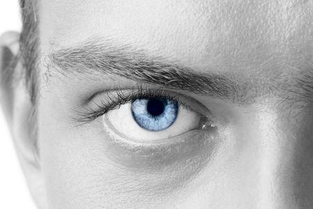 Macro shot of blue mans eye, black and white Stock Photo