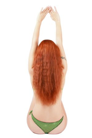 Beautiful back of girl with gorgeous long red hair and tattoo on shoulder Stock Photo - 2263945