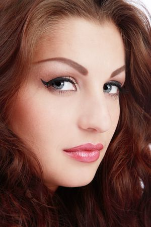 Close-up portrait of beautiful blue-eyed girl with classical glamorous makeup Stock Photo - 2935601