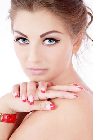 full lips: Portrait of beautiful blue-eyed woman with trendy makeup and perfect skin and nails