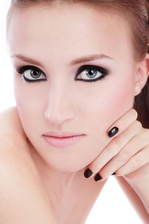 smoky eyes: Portrait of young blond girl with smoky eyes