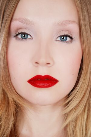 Close-up portrait of beautiful blond with red lipstick, selective focus Stock Photo - 3063203