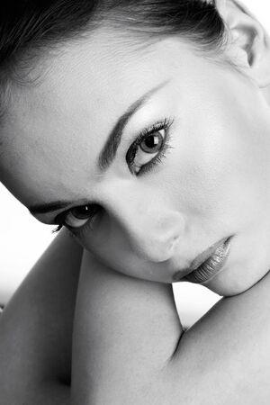 Doutone portrait of beautiful thoughtful young woman