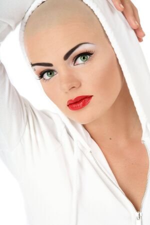 bold: Portrait of beautiful bold girl with glamorous makeup Stock Photo