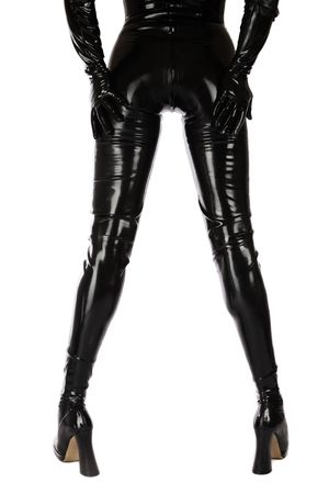 Back and legs of slim woman in black latex catsuit