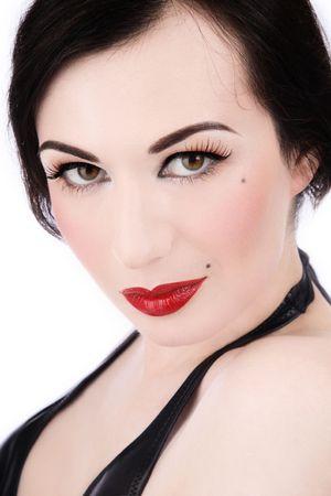 transexual: Hombre joven con bastante cl�sico maquillaje glamoroso