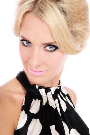 Portrait of beautiful blond girl with stylish makeup photo