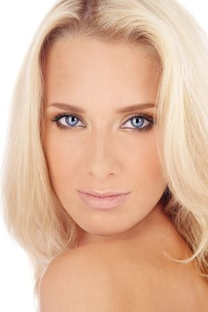 Portrait of beautiful blond blue-eyed girl with golden makeup