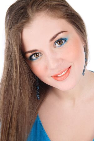 Portrait of pretty fresh young smiling girl with bright makeup Stock Photo - 3644139