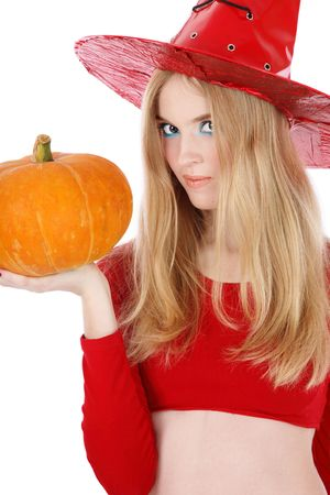 sexy young girls: Portrait of pretty blond girl in costume of Halloween witch with pumpkin in hand
