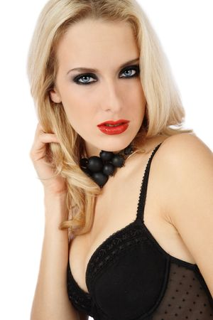 Beautiful blond girl with trendy makeup in sexy black lingerie Stock Photo - 3860064