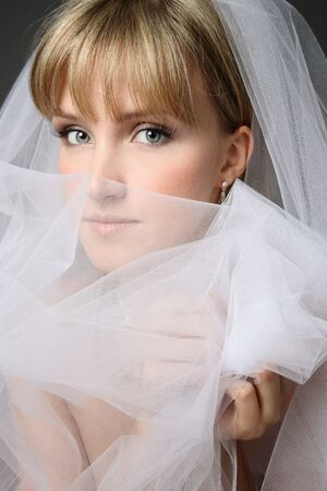 3860067: Close-up portrait of young beautiful thoughtful bride in bridal veil Stock Photo