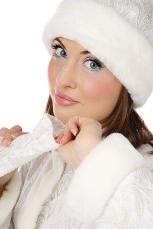Pretty fresh girl in white costume of Santa helper  photo