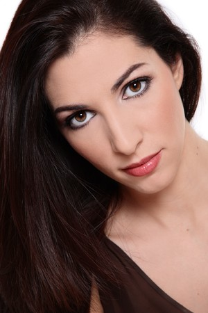 Portrait of beautiful brunette with natural clear makeup