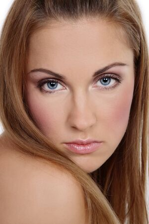 entice: Close-up portrait of beautiful girl with natural clear makeup Stock Photo