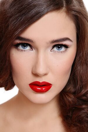 Close-up portrait of beautiful girl with classical glamorous makeup Stock Photo