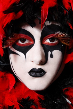 faceart: Portrait of woman with faceart like venetian mask