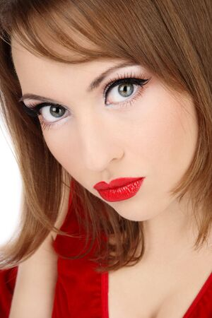Close-up portrait of attractive woman with red lips photo