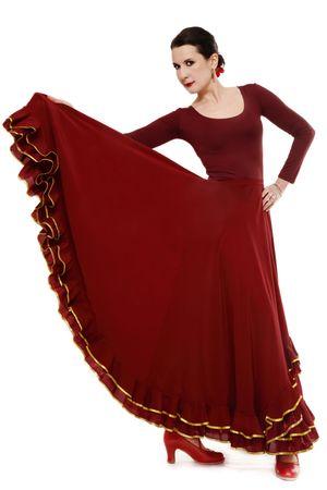 flamenco dancer: Atractiva mujer bailando flamenco, sobre fondo blanco Foto de archivo