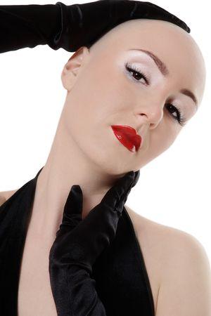 skinhead: Portrait of beautiful skinhead girl with glamorous makeup