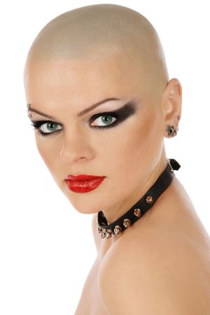 bald girl: Portrait of skinhead woman with leather collar