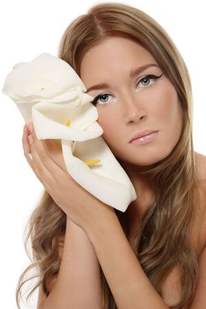 Beautiful blond tanned girl with trendy makeup holding white flowers Stock Photo - 4862956