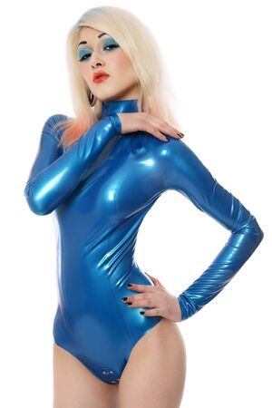 entice: Sexy blond girl in blue latex body, bright makeup and fancy hairstyle Stock Photo
