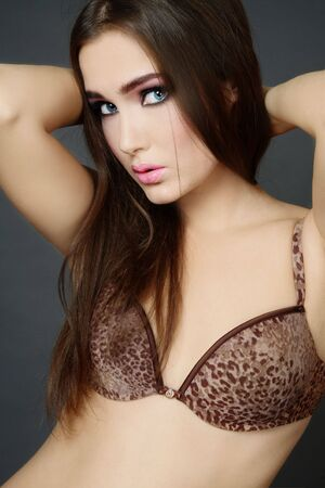 leopard print lingerie: Beautiful sexy young woman in leopard print lingerie Stock Photo