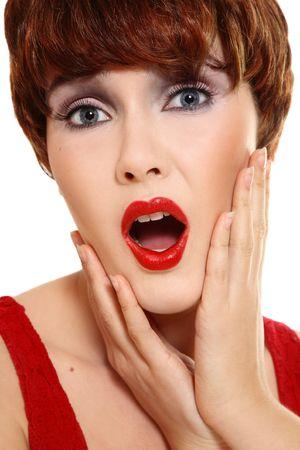 Portrait of beautiful stylish woman with shocked expression Stock Photo - 5518665