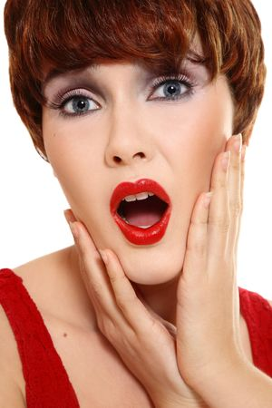 Portrait of beautiful stylish woman with shocked expression Stock Photo - 5518665