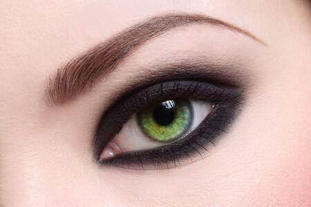 Macro shot of green womans eye, selective focus photo