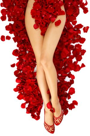 Hips and legs of slim tanned woman in stylish peep-toes lying on red roses petals, over white background Stock Photo - 5625265