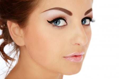 eyebrow  look: Close-up portrait of young beautiful woman with stylish makeup