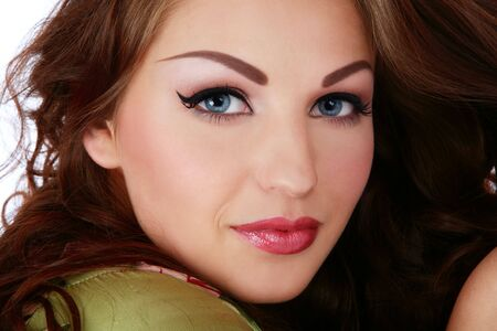 eyebrow  look: Close-up portrait of young beautiful smiling woman with stylish makeup