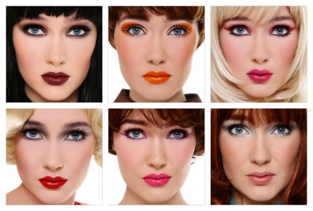 Six various looks of the same beautiful girl or how makeup and hairstyle can change woman