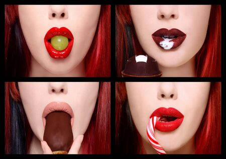 Collage with four close-up shots of beautiful woman lips with grape, candy, cake and ice-cream