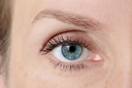 Macro shot of blue womans eye with clear makeup