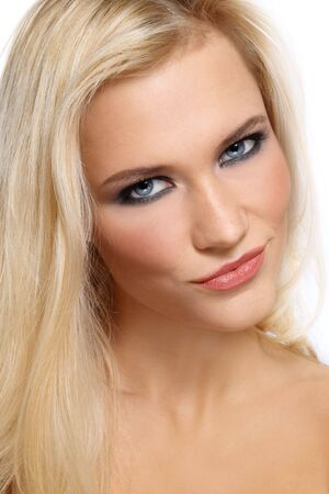 Portrait of beautiful smiling blonde girl with trendy make-up Stock Photo - 6108761