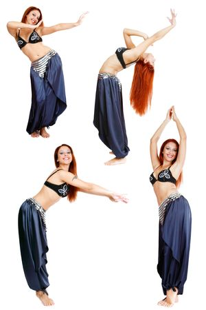 Collage with four shots of beautiful redhead smiling belly-dancer over white background
