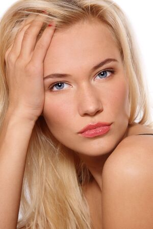 scandinavian people: Portrait of beautiful blonde girl with clear make-up