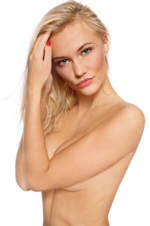 Beautiful slim tanned sexy blonde over white background Stock Photo - 6108778